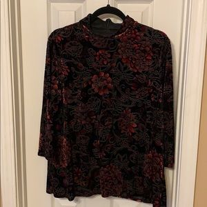 Chico's Tops - Chico's red and black floral velvet top